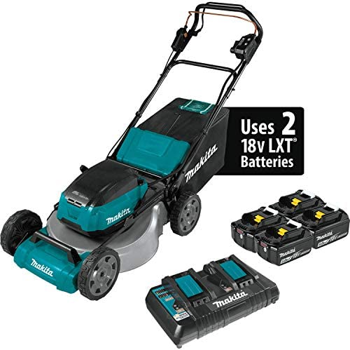 Makita XML08PT1 36V LXT Lithium Ion Brushless Cordless 18V X2 21 Self Propelled Lawn Mower Kit with 4 Batteries, Teal