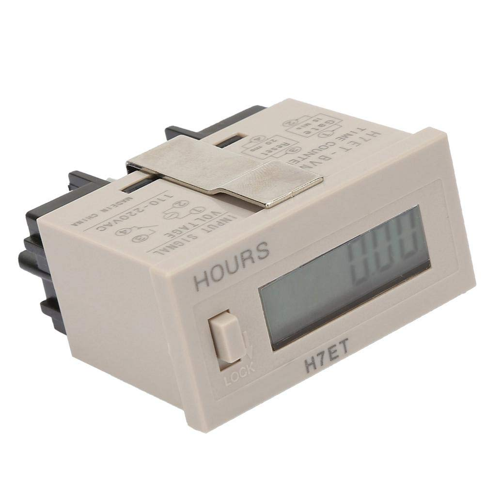 0.00 segundo Liukouu AC 110-220V ET-BVM Totalizador de contador el/éctrico digital con pantalla LCD de 6 d/ígitos