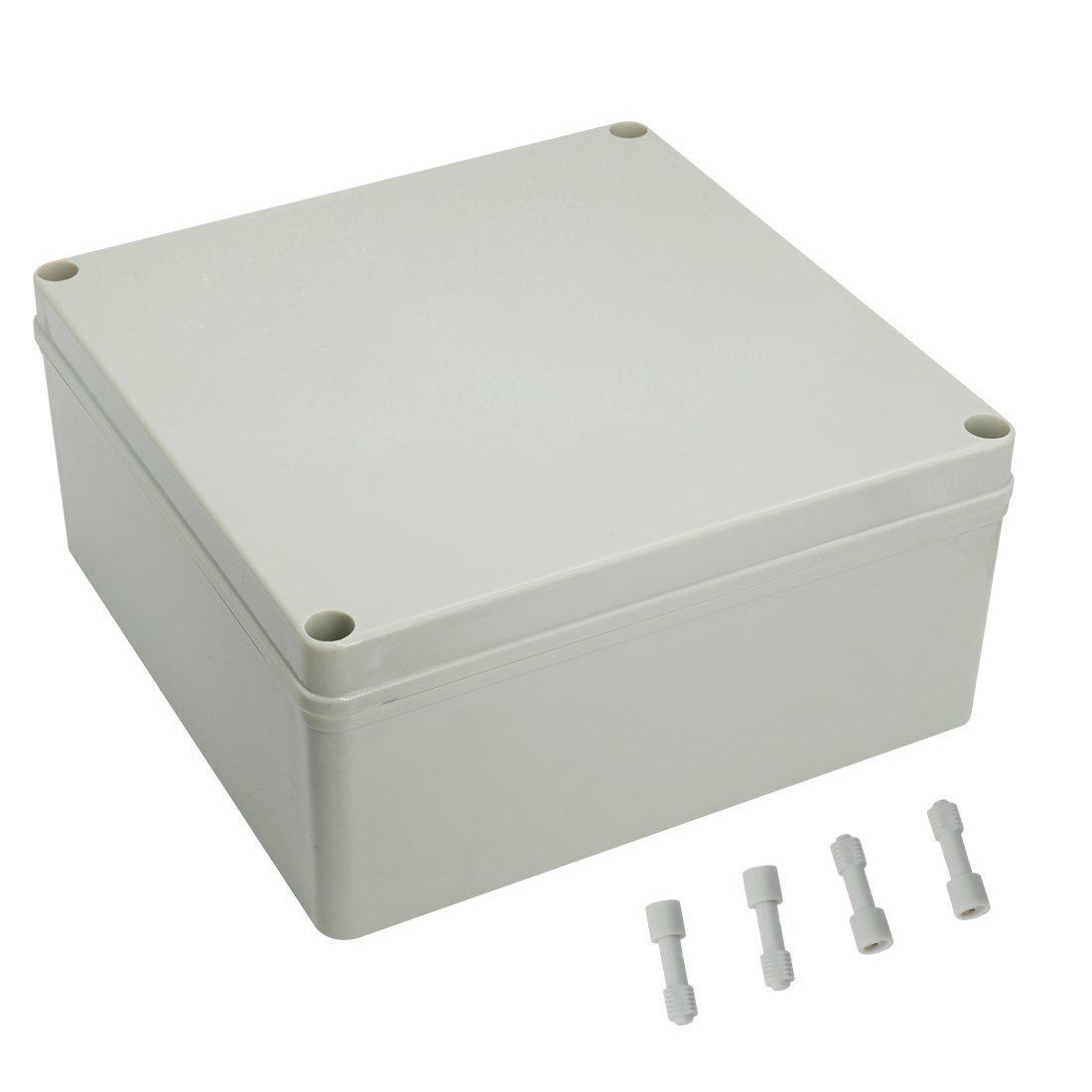 LeMotech 7.9 x 7.9 x 3.7 200mm x 200mm x 95mm Dustproof IP67 Junction Box DIY Case Enclosure Gray