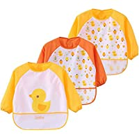 Toddler Baby Waterproof Apron Sleeved Bib, Bib with Sleeves&Pocket, 6-36 Months,Set of 3 Soft material Cute Animals…