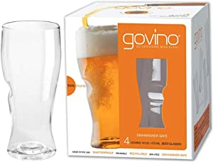 Govino Go Anywhere Dishwasher Safe Beer Glasses Flexible Shatterproof Recyclable, 16-ounce, Set of 4