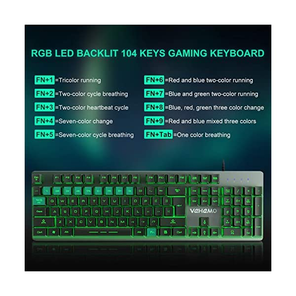 Wired Computer Gaming Keyboard Multimedia USB 104 Keys Wired Colorful Backlight Metal Gaming Keyboard for Computer PC Laptop Color : Black Black