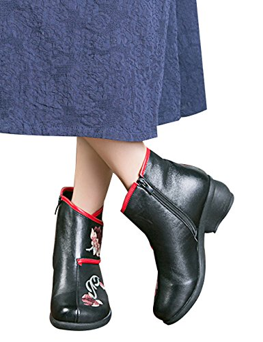 Women's Retro Style Leather Block Zoulee 9 Ankle Black Heel High Boots Ankle Booties Casual Zipper qIqwHdT