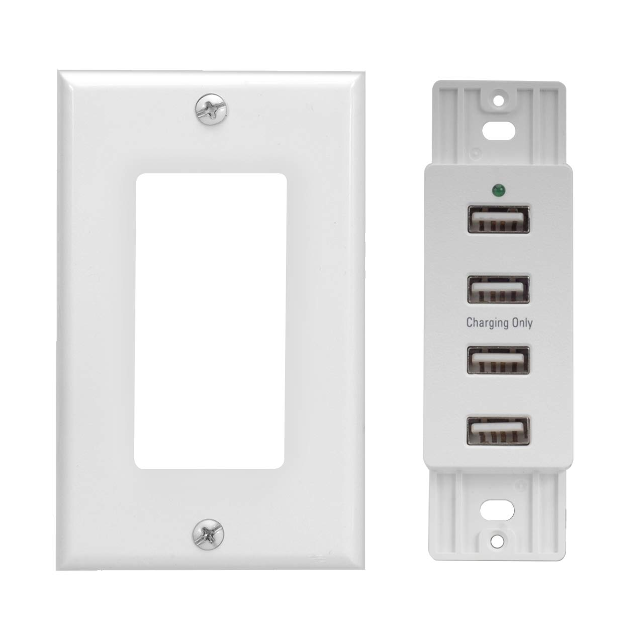Magnadyne WC-USB-W White Wall Mount 4 USB Charging Ports White Wall Plate included