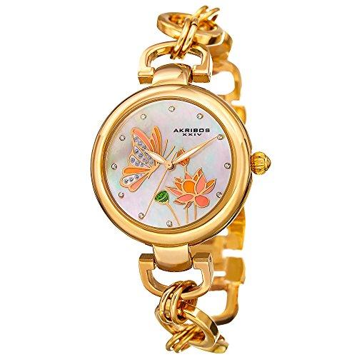 Akribos XXIV Women's Swarovski Crystal Landscaped White Mother-of-Pearl Dial with Gold-Tone Chain Link Bracelet Watch AK934YG