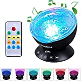 Ohuhu Remote Control Night Light Ocean Wave Light Projector 7 Colors with Bulit-in Speaker, Black