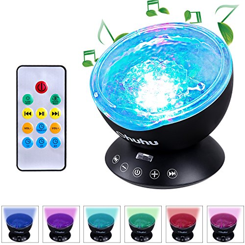 Ohuhu Remote Control Night Light Ocean Wave Light Projector 7 Colors with Built-in Speaker, Black