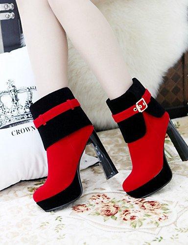 De Eu39 A La Red Uk3 Zapatos Vellón Spool us8 Moda Cn39 Negro Redonda Mujer Eu35 Xzz Botas Cn34 us5 Punta Rojo Vestido Tacón Uk6 Black z5qZ8aTw