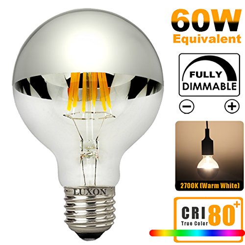 Half Chrome Light Bulb Dimmable LED Edison Bulb Silver Bowl Tipped Light Bulbs 6W (60W Equivalent) G80/G25 Globe Round Mirror Vintage Vanity Decorative Light Bulb E26 Medium Base Warm White 2700K (Globe Chrome Bulb)