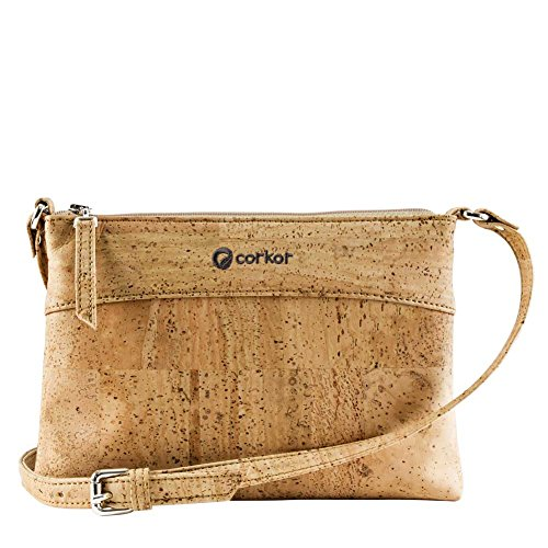Corkor Crossbody Bag Women Purse Handbag Cross-Body Vegan Cork Hands-Free Light Brown Color