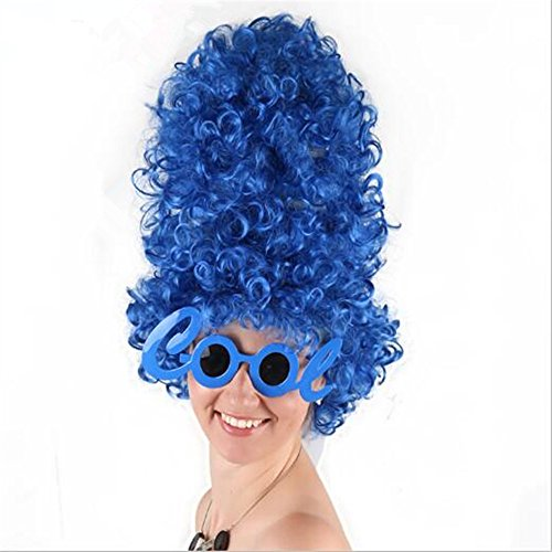 Sweenaly Blue Marge Simpson Style Wig Adult Costume Wig Fancy Dress Accessory ()
