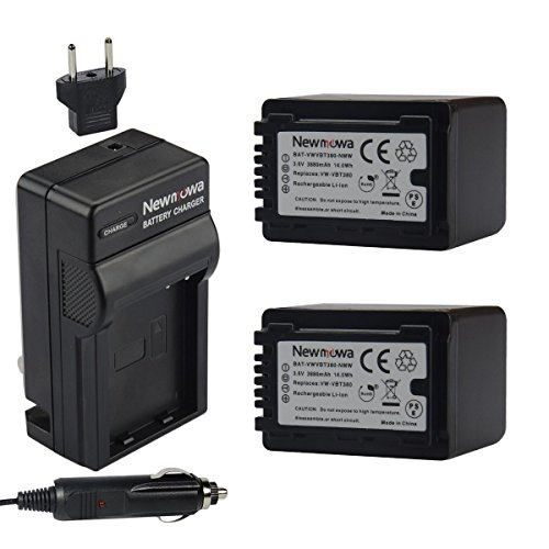 Newmowa Replacement Battery (2-Pack) and Charger kit for Panasonic VW-VBT380