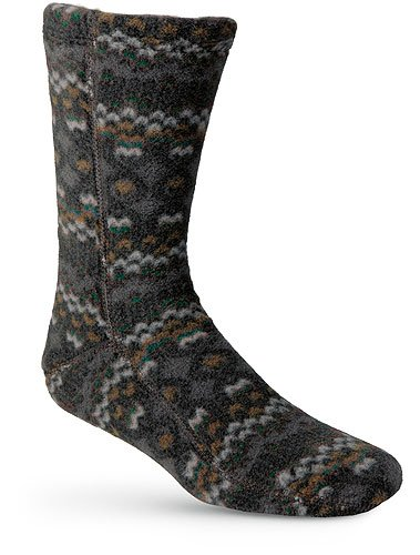 Acorn Slippers Fleece Versa Fit Socks - Charcoal Cable - X-Small