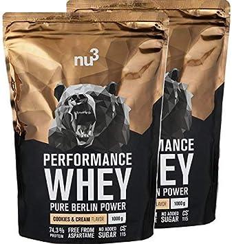 nu3 Performance Whey Protein | 2kg de suero en polvo sabor cookies & cream con 74.3% de proteína | Proteína aislada (isolate) + aminoácidos BCAAs | ...