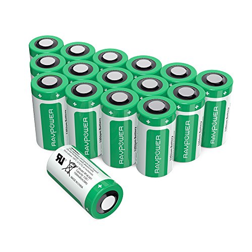 Lithium Battery Shelf Life - CR123A Lithium Batteries [Upgraded] RAVPower 3V Lithium Battery Non-Rechargeable, 16-Pack, 1500mAh Each, 10 Years of Shelf Life for Arlo Cameras, Polaroid, Flashlight, Microphones and More (Green)