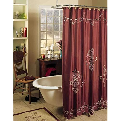 wine colored shower curtain. Creative Linens Valencia Cutwork Embroidery Fabric Shower Curtain Burgundy  Holiday Amazon com