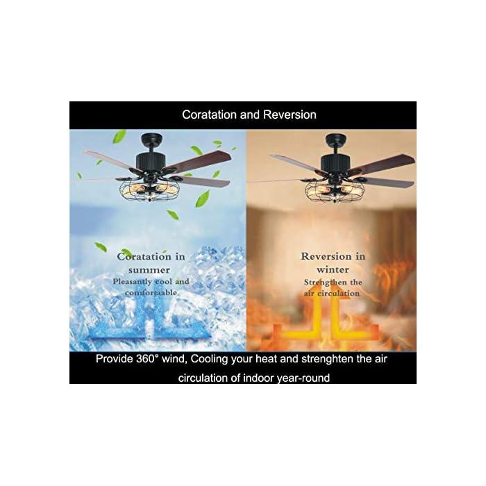516cyXUBkNL Estilo: ventilador de techo vintage con luz, decoración industrial del hogar. Equipado con un motor de cobre puro, que es silencioso y estable de potencia que te ofrece un ambiente adecuado para la vida / dormir, trabajo promedio de 5-10 años. Función reversible: 5 hojas de nogal marrón pueden ser reversibles para adaptarse a los requisitos de temporada de verano e invierno, mantén a tus familias alejadas del aire acondicionado y fortalecer la circulación del aire en invierno.