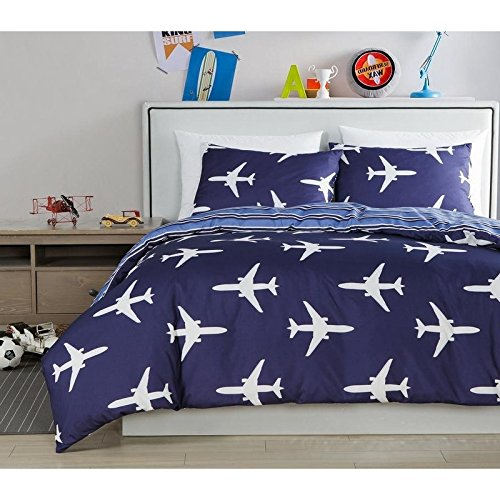 White Twin Jet - D&A 2 Piece Kids Navy Blue White Airplane Themed Comforter Twin Set, Preppy Chic Boys Girls Air Plane Jet Bedding, Reversible Horizontal Stripe Pattern, Polyester