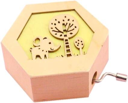 Sikye Caja de música, dibujos animados animales, caja musical de madera tallada a mano, juguete de música, decoración de cumpleaños, regalo: Amazon.es: Instrumentos musicales