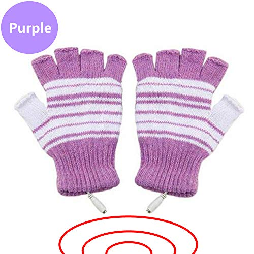DECVO USB 2.0 Powered Stripes Heating Pattern Knitting Wool Heated Gloves Fingerless Hands Warmer Mittens Laptop Computer Warm Gloves for Women Men Girls Boys (Purple)