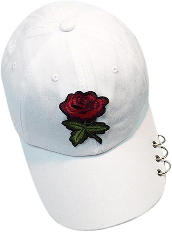 Lenfesh Gorra de Flores Bordada Gorras de Deportes Ajustable para ...