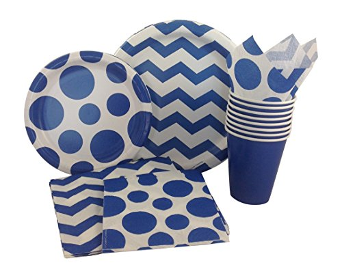 Blue & White Chevron Dot Party Supply Pack! Bundle Includes Paper Plates, Napkins, Cups for 8 (Chevron Blue Dessert Plates)