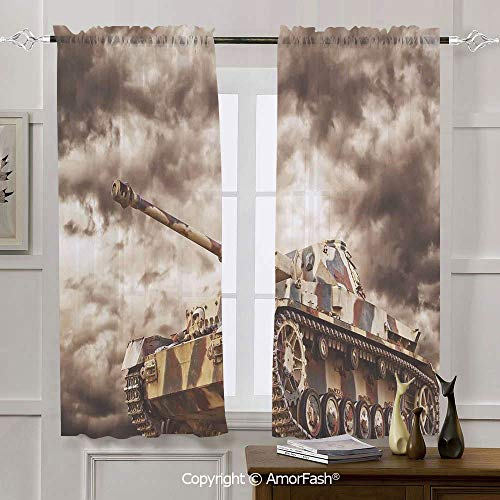 AmorFash War Home Decor Chiffon Window Curtain Panels Kitchen Curtains,2 Panels,Rod Pocket,42x54 Inch German Tank in Action with Dark Storm Clouds Dangerous Weapon Concept of Battle