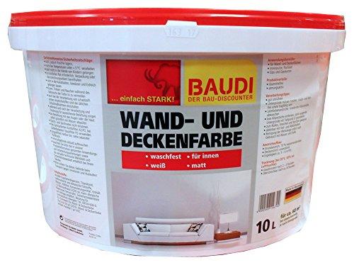 BAUDI Wandfarbe Dispersion Farbe weiß 10 Liter