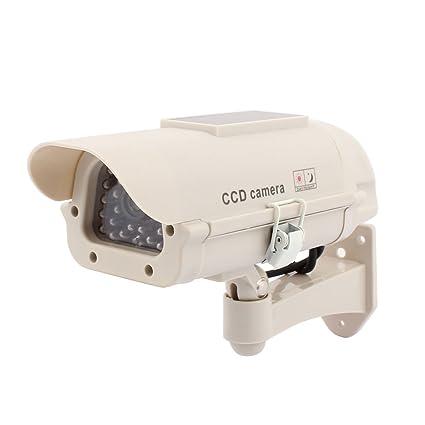 sourcing map Cámara de vigilancia Solar interior potencia falsa luz LED CCTV de seguridad ficticio