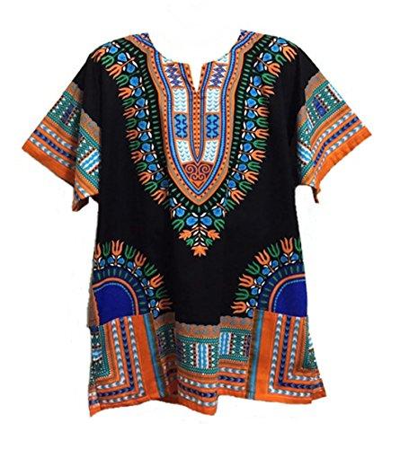 Vipada Handmade Men Dashiki Shirt African Caftan Black with Orange XXXXL by Vipada Handmade