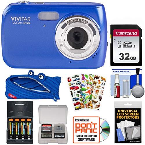Blue Vivicam Vivitar (Vivitar ViviCam S126 Digital Camera (Blue) with 32GB Card + Batteries & Charger + Case + Kids Stickers Kit)