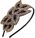 Beaded Flapper Headband Leaf Bunch Vintage Inspired Hairband Hair Accessory, Black