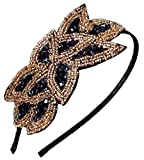 Beaded Flapper Headband Leaf Vintage 1920s Inspired Hairband Hair Accessory - Black Gold