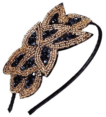 Beaded Flapper Headband Leaf Vintage 1920s Inspired Hairband Hair Accessory, Black Gold