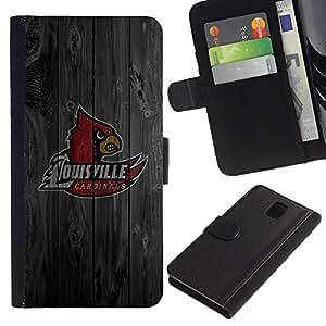 UNIQCASE - Samsung Galaxy Note 3 III N9000 N9002 N9005 - Louisville Cardinal Basketball - Cuero PU Delgado caso cubierta Shell Armor Funda Case Cover