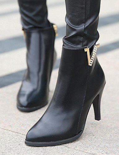 De Mujer Stiletto Eu39 us8 Semicuero Red Cn36 Puntiagudos Zapatos Uk6 Black Casual Uk4 Rojo Tacón Negro Vestido Botas Eu36 us6 Xzz Cn39 EOnz56wqn