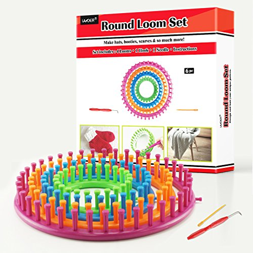 LAYOER Round Loom Set Plastic Knitting Looms with Hook Needle and Pompom Maker 4 Looms