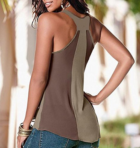 Westeng Mujer Chaleco Sin Mangas de Gasa Ocasionales Flojas Blusa Camiseta Tapas Camisetas Caqui S