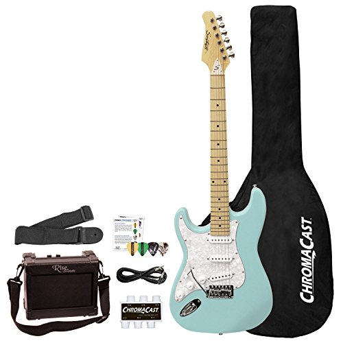 Tremolo Solid Body Electric Guitar - Sawtooth 6 String Left-Handed Solid-Body Electric Guitar, Daphne Blue with Pearloid White Pickguard (ST-ES-LH-DBLP-BEG-KIT)