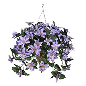 House of Silk Flowers Artificial Purple Clematis in Cone Hanging Basket 9