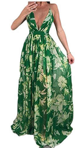 s Chiffon Women Print Floral Fashion Neck Sexy Dresses Green V Jaycargogo Twfx5q1q