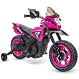 Huffy 6V Kids Electric Battery-Powered Ride-On Motorcycle Bike Toy w/ Training Wheels, Engine Sounds, Charger - Pink