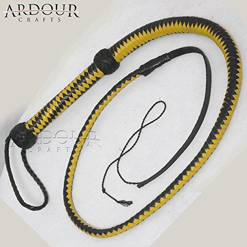 Ardour Crafts WP-129 Plait Genuine Real Leather Bull Whip Heavy Duty Bullwhip, Yellow/Black (Signal Whip)