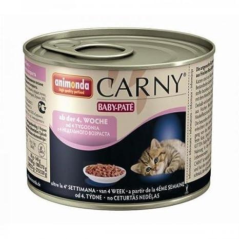 6 x Animonda Cat Lata Carny Bebé Pate 200g, Comida húmeda, Comida para gatos: Amazon.es: Productos para mascotas