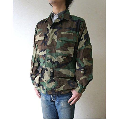 男らしさ相反する狐アメリカ軍放出 BDU ジャケット 上着 【ウッドランド】 迷彩 リップストップ 未使用 デットストック 【アウトドアシリーズ】