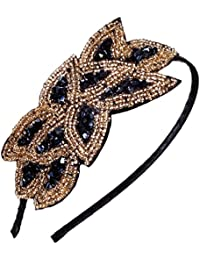 Beaded Flapper Headband Leaf Vintage 1920s Inspired Hairband Hair Accessory, Black Gold