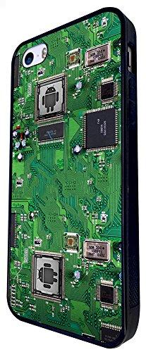 700 - Circuit Motherboard Android Chip Retro Design iphone SE - 2016 Coque Fashion Trend Case Coque Protection Cover plastique et métal - Noir