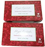 All Natural Shugar Soapworks Oatmeal & Cranberry Soap Made in USA 7 oz Bar 2 Packs