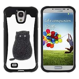 Suave Caso Carcasa de Caucho Funda para Samsung Galaxy S4 I9500 Black Pen Art Minimalist Kitten White / JUSTGO PHONE PROTECTOR