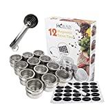 tin container with clear lid - 12 Multipurpose Magnetic Spice Tin Set for Fridge Storage – Round Stainless-Steel Spice Jar Container with Clear Shaker Lids - Includes 96 Printed, 54 Blank Labels, Chalk Pen and 4 Measuring Spoons